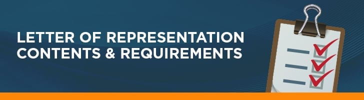 Letter of representation contents and requirements