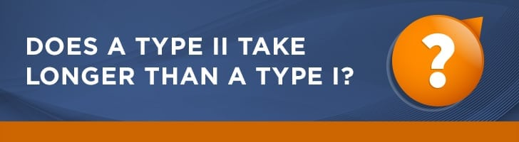 What takes longer, a type I or a type II report?