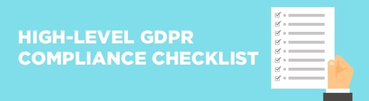 high-level GDPR compliance checklist